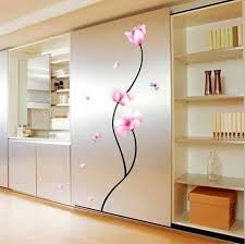 DIY Pink Flower Lovely Window Hand Drawing Wall Stickers Living Room Bedroom Poster Vinyl Decoration Decal
