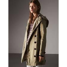 taffeta trench coat with detachable hood in sisal women burberry