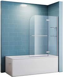 duschtrennwand für badewanne 90x140 nano glas mit eckregal