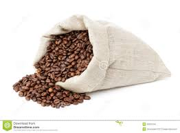 Roated Coffee Beans Spill Out Of The Bag