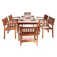 Houzz Malibu 7 Piece Outdoor Dining Set With Stacking Chairs