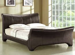 Faux Leather Sleigh Beds Brown Curve Sleigh Bed Brown Faux Leather