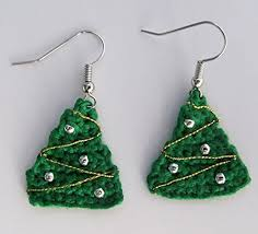 Crochet Mini Christmas Tree Earrings Decorated Holiday Green Thread Jewelry