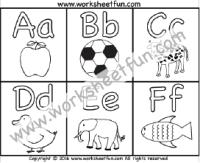 Alphabet Coloring Letter A Z Five Worksheets
