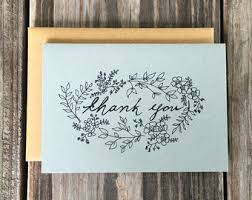 Hand Drawn Vintage Inspired Flower Thank You Cards Wedding Rustic