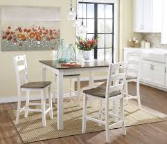 woodanville white and brown square counter height dining room set