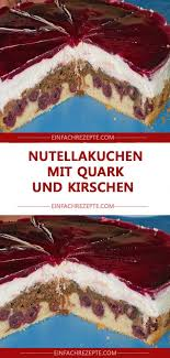 nutellakuchen mit quark und kirschen