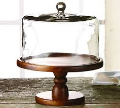 Madera Small Wooden Cake Stand With Glass Dome