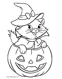 Marie In Pumpkin Halloween Coloring Sheet