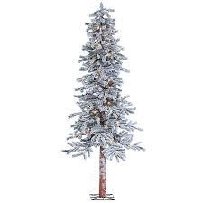 Pre Lit Flocked Alpine Christmas Tree