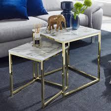wohnling design beistelltisch 2er set weiß marmor optik eckig couchtisch 2 teilig tischgestell metall gold kleine wohnzimmertische moderne