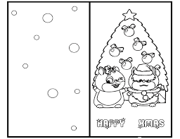 Happy Xmas Merry Christmas Card Coloring Pages Printable