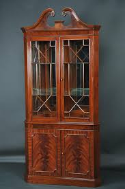 Curved Glass Curio Cabinet Antique by Curved Brown Wooden Corner Cabinet With Ivory Shelves And Double