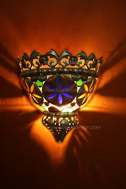metal half moon with colored glass wall sconce wl078