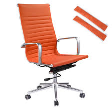 XL Executive Ergonomic High Back Ribbed PU Leather Swivel Office Computer  Desk Chair Orange Merax Orange High Back Gaming Chair With Lumbar Support And Headrest Cougar Armor S Luxury Breathable Premium Pvc Leather Bodyembracing Design Mid Century Modern Highback Lounge Revive Modern In Highback Swivel Black With Racing Style Ergonomic Office Desk By Morndepo Xl Executive Ribbed Pu Computer Gothic Inspired Velvet Throne Task Global Ding Chairs Upholstered Angelic Vini Furntech Gromalla Mesh Akracing Nitro Robus High Back From Stylex Architonic Video Bucket Seat Footrest Padding