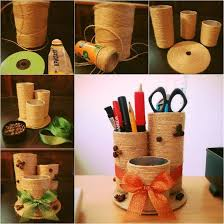 6 DIY Desktop Organizer With Some Empty Containers And Yarn Or Sisal Rope
