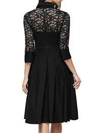 MissMay Womens Vintage 1950s Style 3 4 Sleeve Black Lace Flare A Line Dress