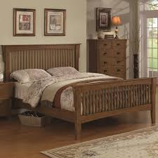 queen size varnished brown walnut wood bed frame with vertical