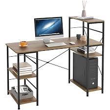 homecho schreibtisch mit ablage computertisch vintage holz officetisch pc tisch für gaming arbeitszimmer wohnzimmer bürotisch im industrie design