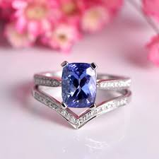 Tanzanite ring set cushion cut tanzanite engagement ring 7x9mm main