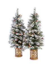 Pre Lit Flocked Christmas Tree by Christmas Trees Lights Skirts Toppers U0026 More Belk