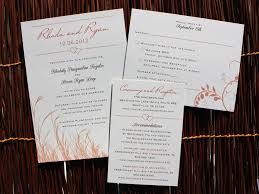 Orange Brown Marsh Grass Vines Hearts Rustic Wedding Invitations
