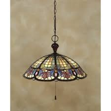 Tiffany Style Lamps Vintage by Quoizel Tiffany Style 2 Light Vintage Bronze Stained Glass Flush