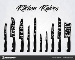 Kitchen Knives Names Realistic Set Of Kitchen Knives With Names Vector Illustration 157681328