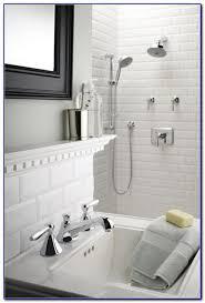 beveled white subway tile shower tiles home design ideas