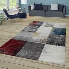 kurzflor teppich used look abstrakt karo muster bunt