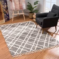 teppich wohnzimmer shaggy grau creme raute muster deko schlafzimmer hochflor mit fransen flauschig