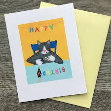Cute Cat Cards Cat Greeting Cards Happy Birthday Thank Etsy