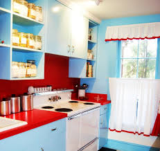Red White And Blue Kitchen Decor With Simple Curtains