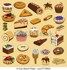 Collection Sweet Pastries Vector