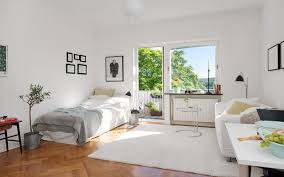 Living Room Apartement Normal Fascinating Open Plan Interior Roomapartement Tiny Apartment Sweden White Carpet Gorgeous Original