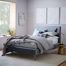 Andes Deco Upholstered Bed Steel Blue Luster Velvet