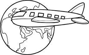 Airplane Travel Around Globe Coloring Page