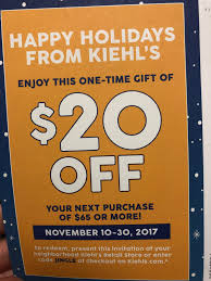 $20 Off $65 Or More At Kiehl's 11/10-11/30 : MUAontheCheap
