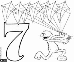 Number 7 And Grover With Seven Kites BabyBear The Eight Coloring Page