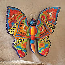 Outdoor Wall Art Decor Butterfly Mexican Simple Great Nice Amazing Talavera Style Breathtaking