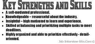 Resume Strengths Examples Key Skills In A