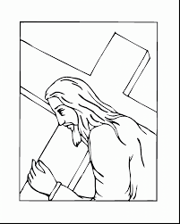 Good Jesus Carrying Cross Coloring Page With And Pages To Print