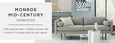 West Elm Rochester Sofa by Monroe Mid Century Collection West Elm