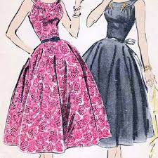 1950s Vintage Sewing Pattern Advance 8296 Rockabiily Bombshell Dress With Curved Yoke And Low Neckline Size