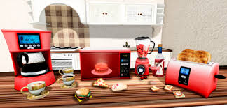 Kitchen Appliances RED Microwave Blender Toaster Coffee Maker