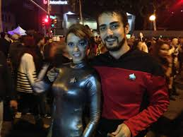 West Hollywood Halloween Carnaval Pictures by Me As Riker And A Dressed Up As 7 Of 9 Taken At The West