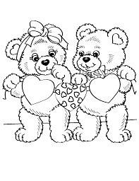 Love Coloring Pages Teddy Bear Couple