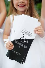 Wedding Ceremony Program In Black And White With Ampersand