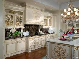 Classy Luxury Photo Kitchen Design With White Gold Cabinet And Fancy Chandelier Above Island
