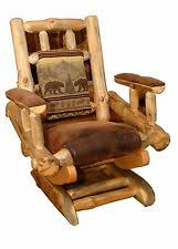 Rustic Pine Log Rocking Chair On Platform Upholstered Amish Made In USA